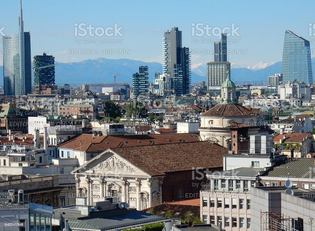 Milano - Panorama e chiesa di san Fedele stock photo