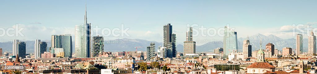 Milano (Italy), skyline panoramic collage (High res) stock photo