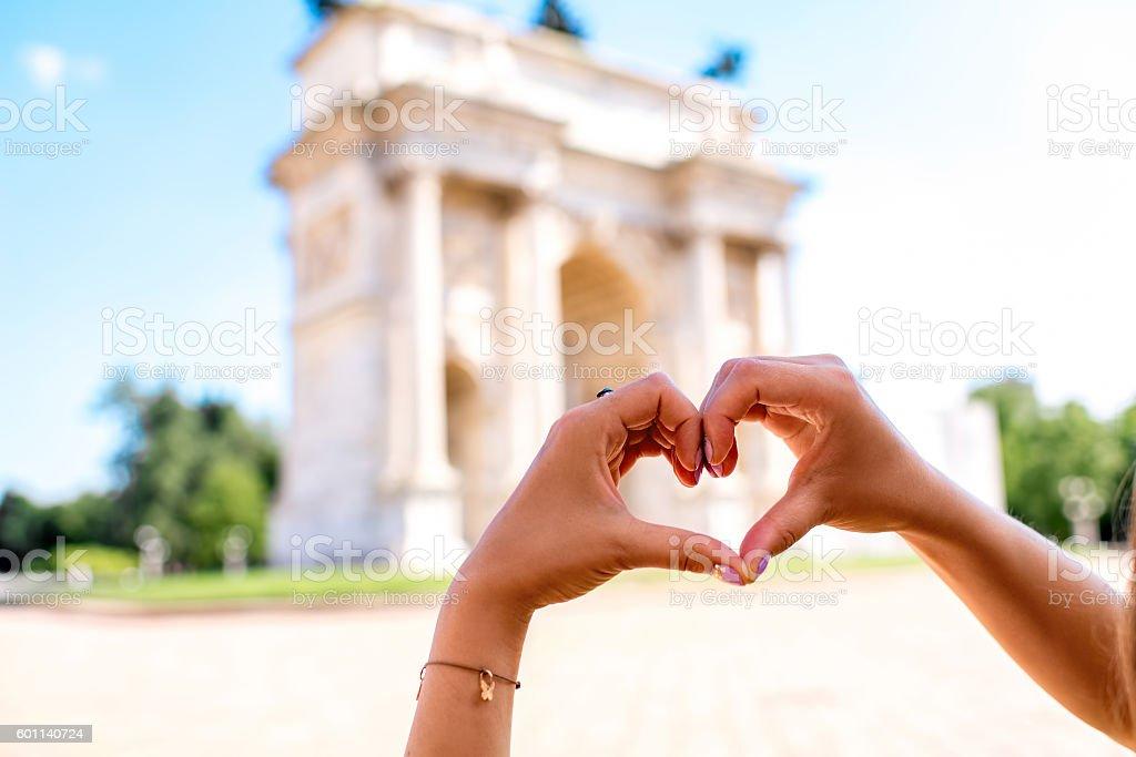 Milan's triumphal arch stock photo