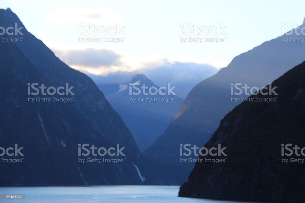 Mildford sonido de Nueva Zelanda foto de stock libre de derechos