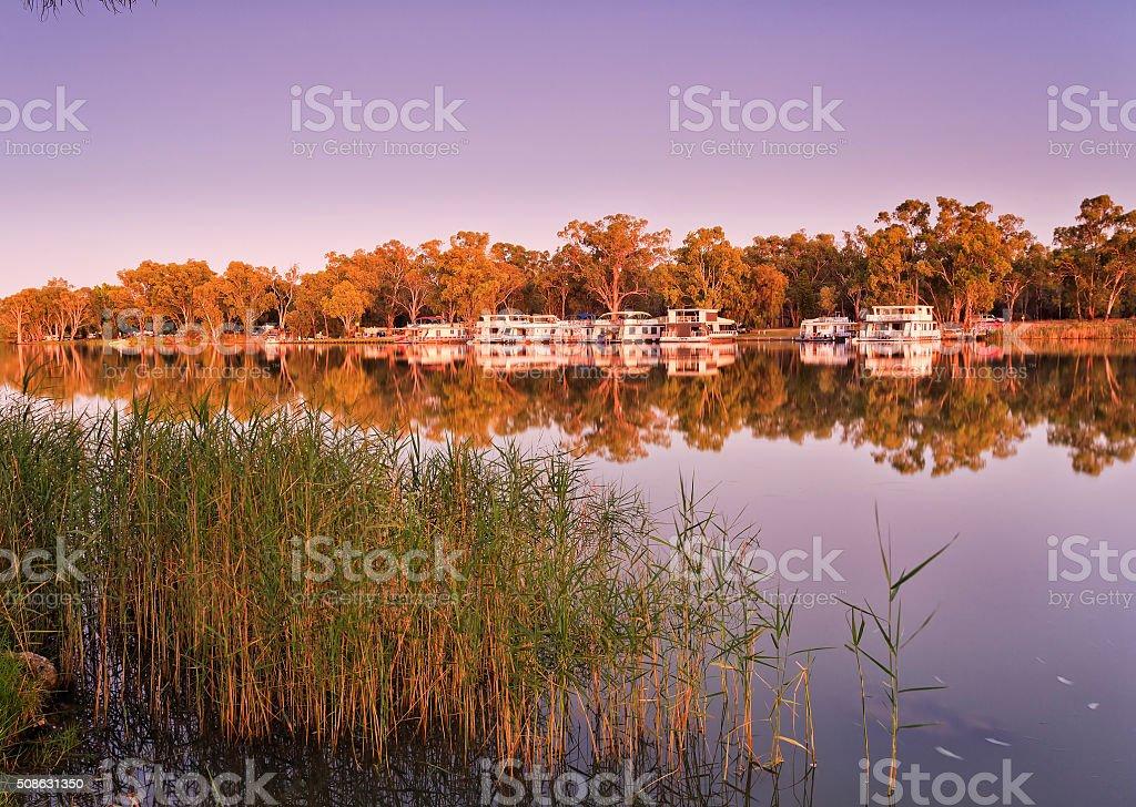 VIC Mildura Murray Sunrise stock photo