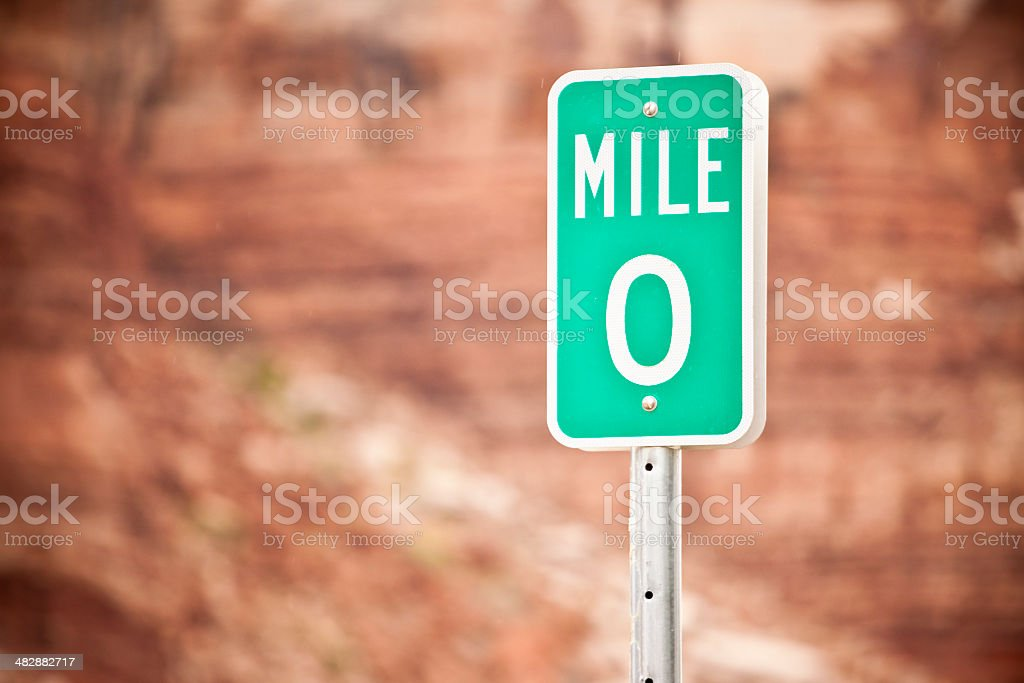 Mile 0 road sign royalty-free stock photo
