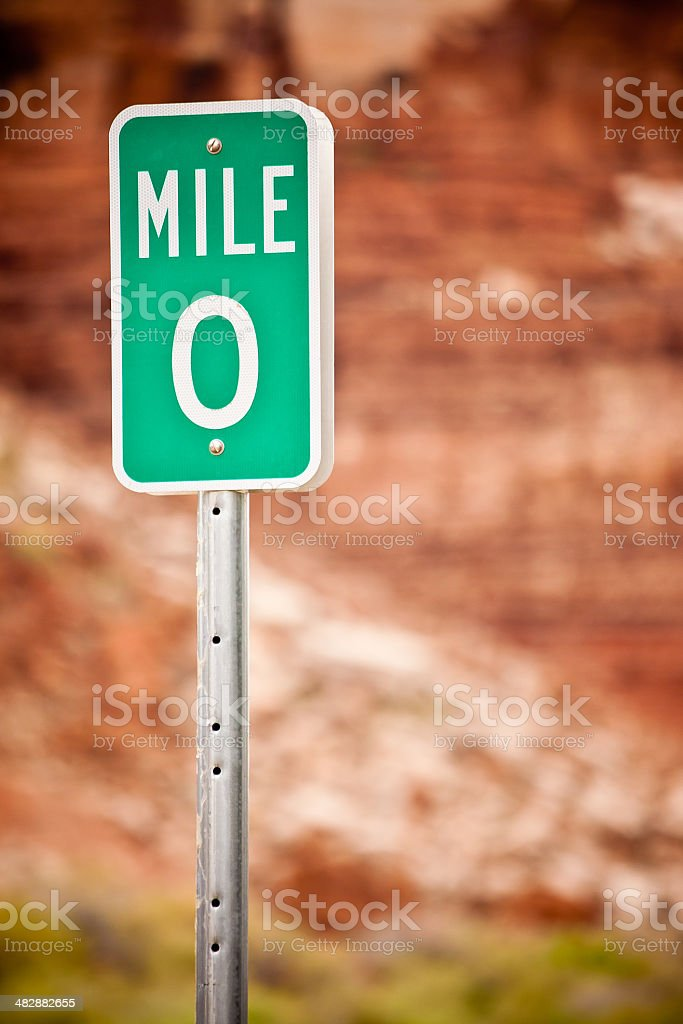 Mile 0 Sign royalty-free stock photo