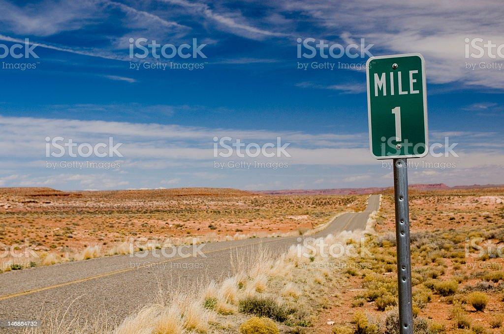 Mile 1 one marker on desert highway horizontal stock photo