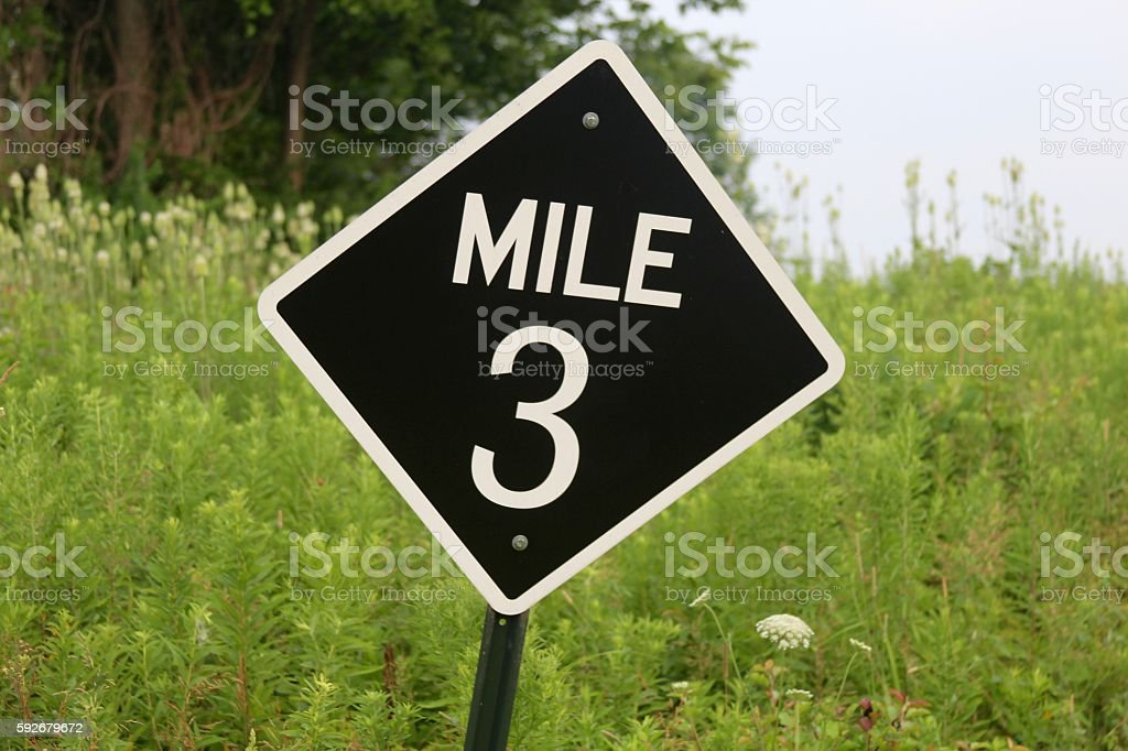 Mile 3 Sign stock photo