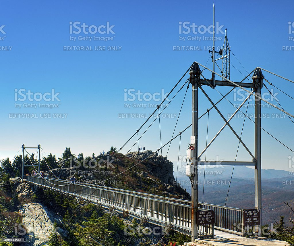 Mile High Swinging Bridge, Grandfather Mountain, North Carolina, USA royalty-free stock photo
