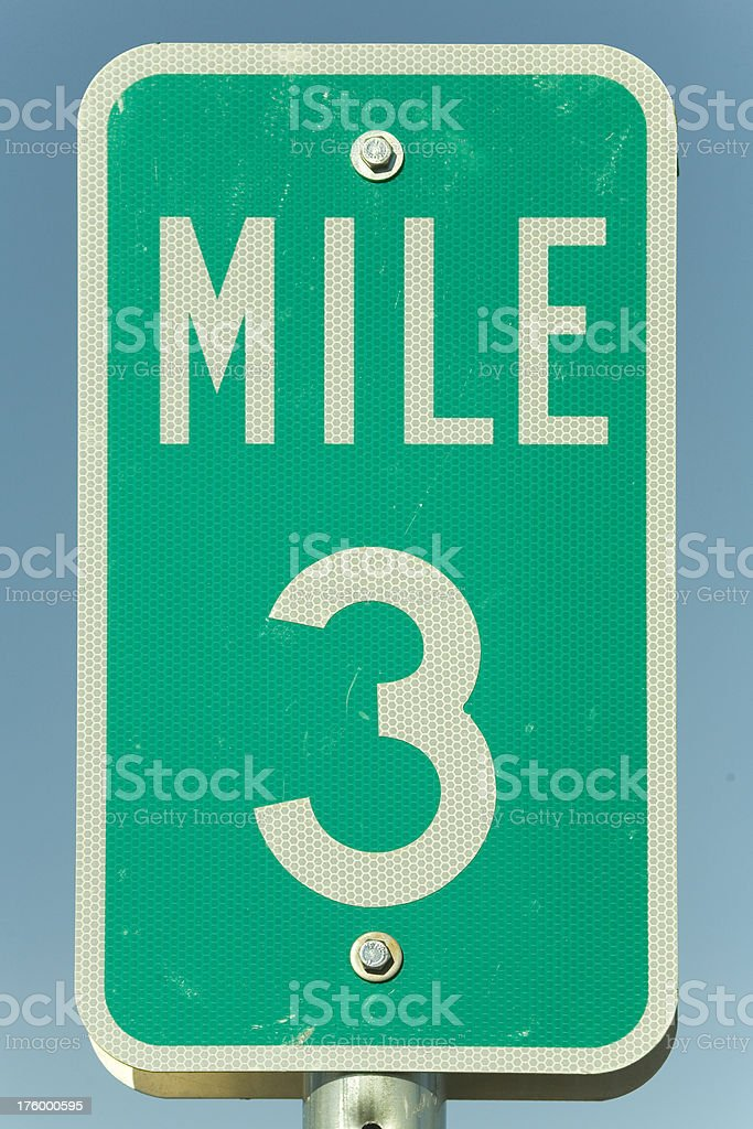 Mile Marker Three royalty-free stock photo
