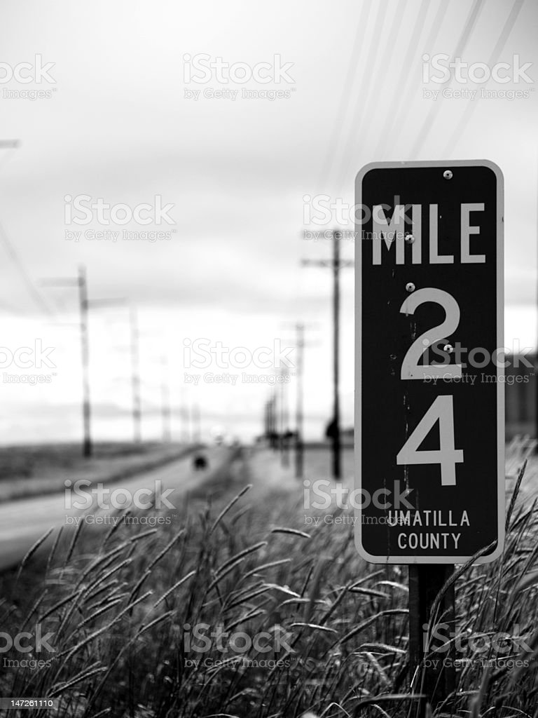 Mile Marker to Nowhere stock photo