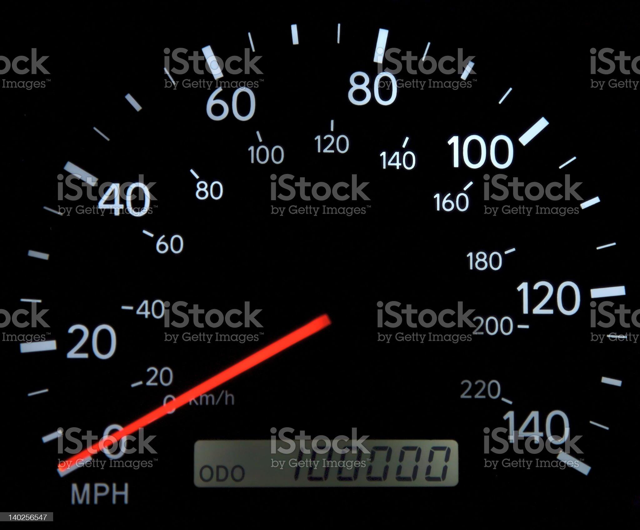 100,000 Mile Speedometer royalty-free stock photo