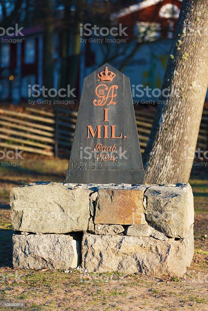 Mile stone stock photo