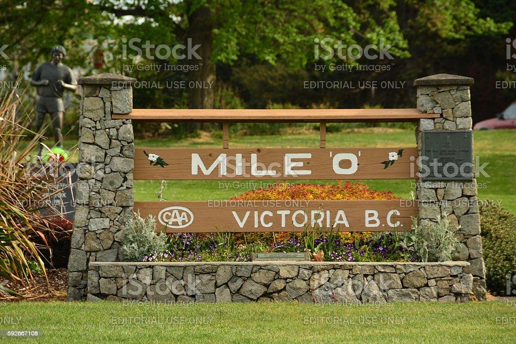 Mile zero sign Victoria BC stock photo