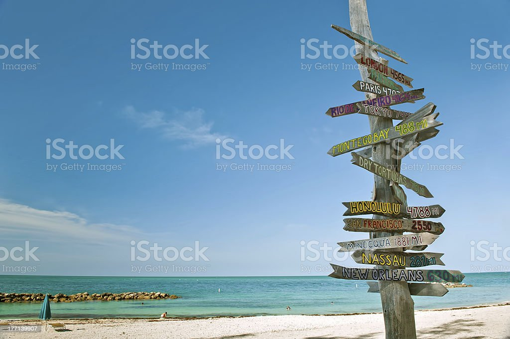 mileage milepost on beach in key west florida stock photo