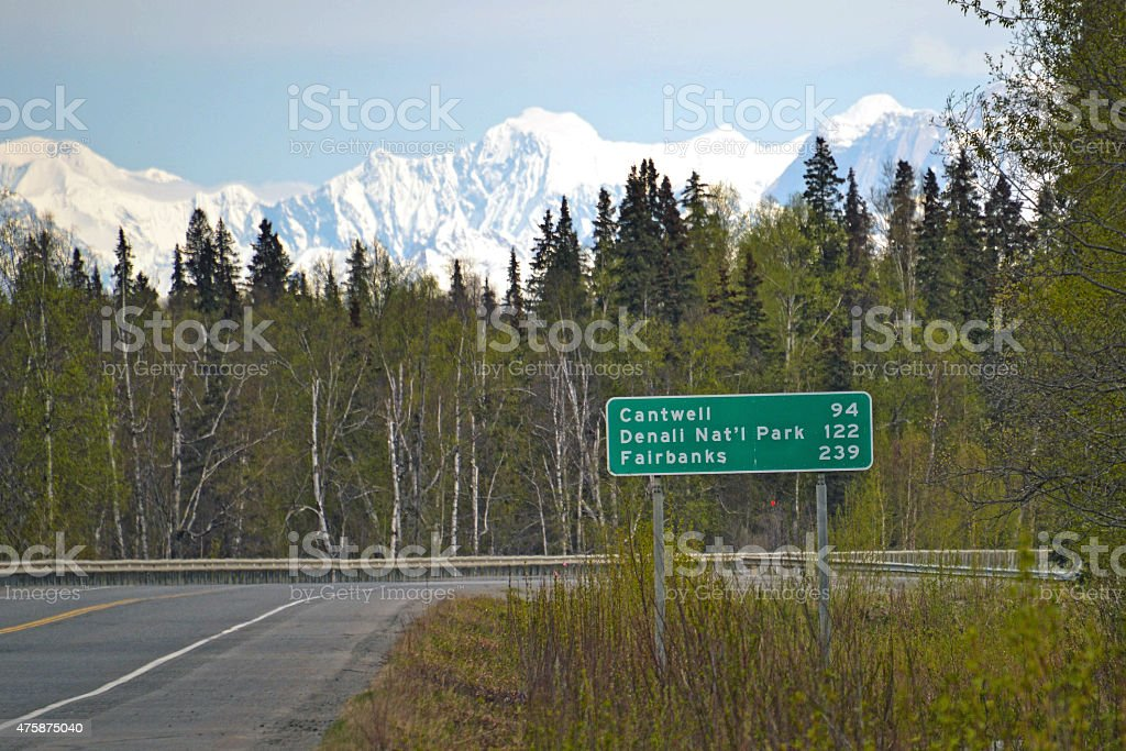 Mileage Sign in Alaska stock photo