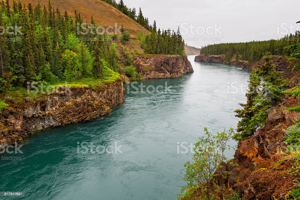 Miles Canyon, Yukon River, Canada stock photo