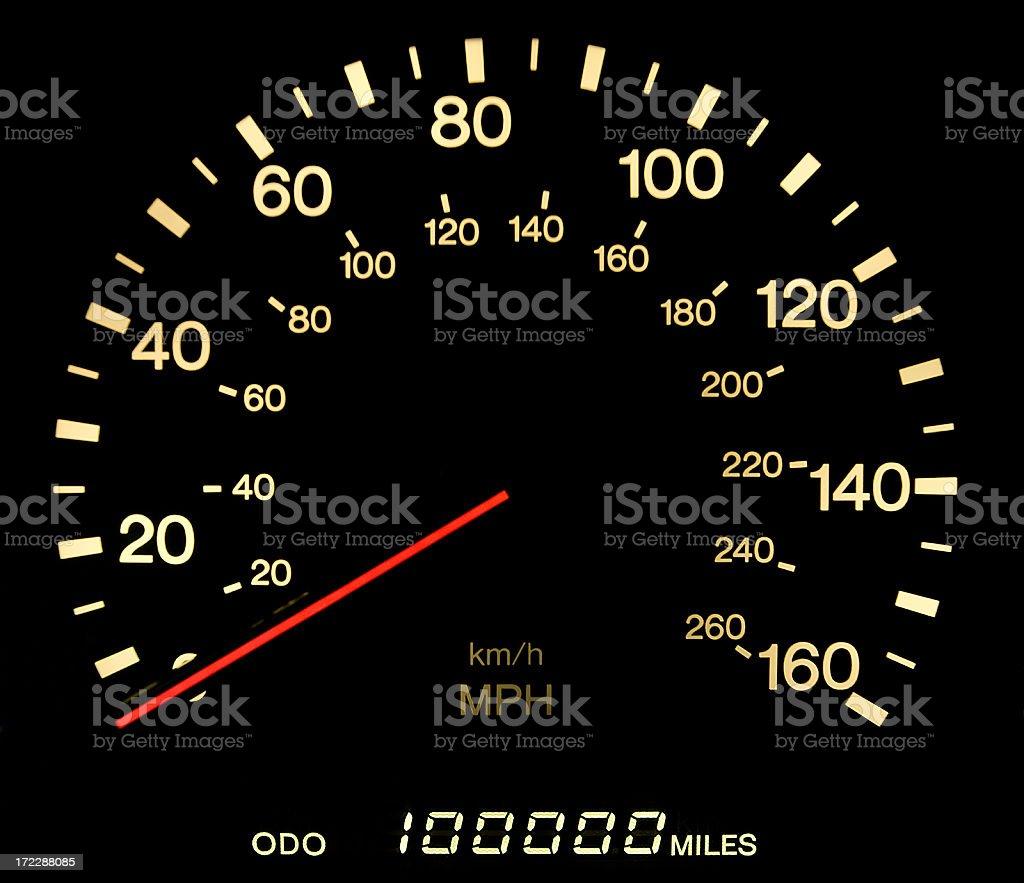 Milestone: 100000 miles stock photo