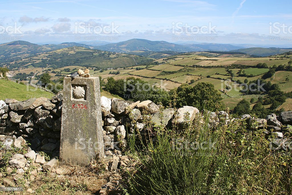 Milestone on Way of St James stock photo