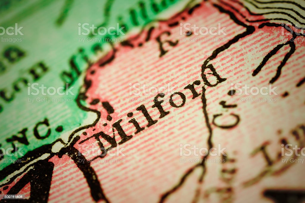 Milford, Delaware on an Antique map stock photo