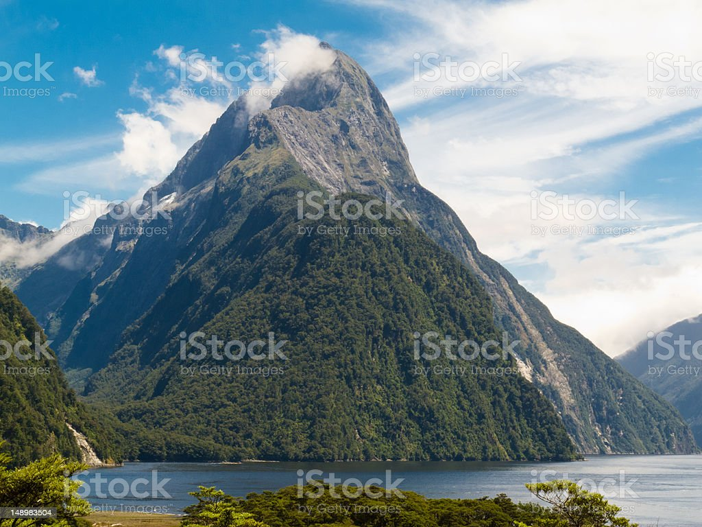 Milford Sound and Mitre Peak in Fjordland NP, NZ royalty-free stock photo