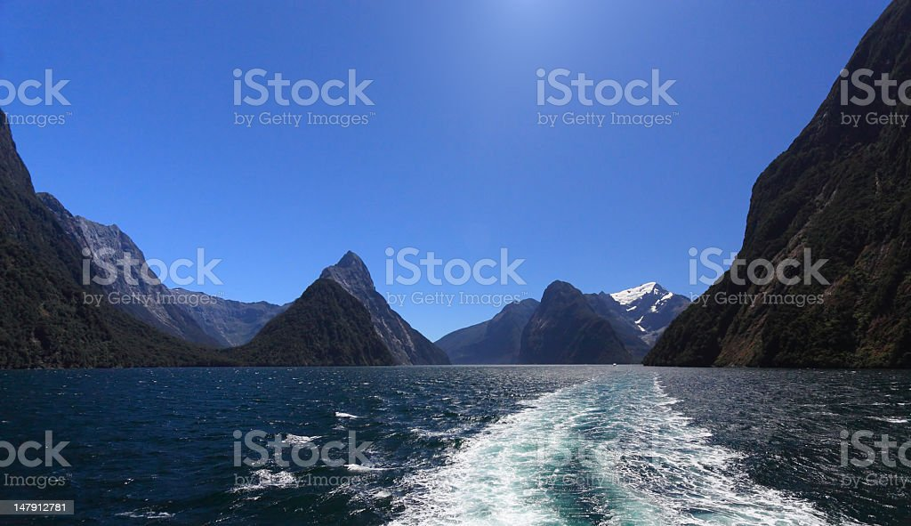 Milford Sound and Mitre Peak royalty-free stock photo