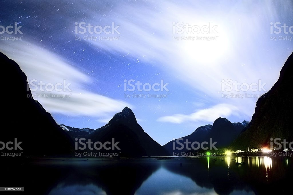 Milford Sound at night royalty-free stock photo