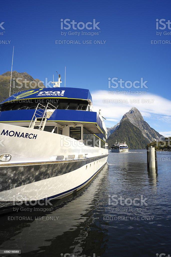 Milford Sound Cruise Ship royalty-free stock photo