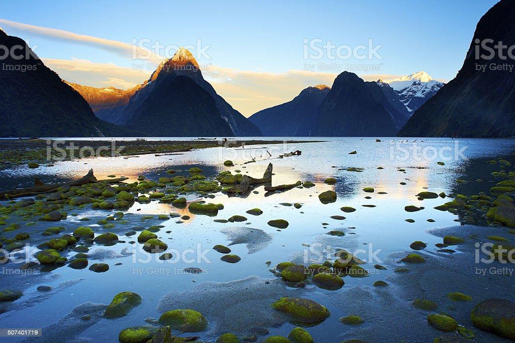 Milford Sound Dawn, Fiordland National Park stock photo