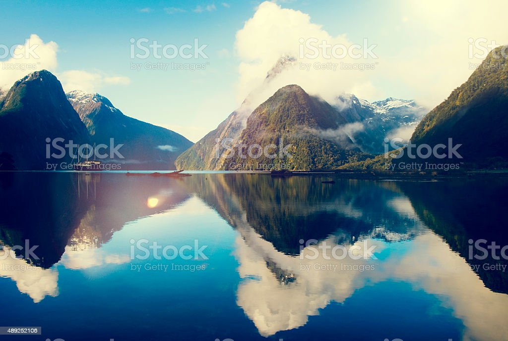 Milford Sound Fiordland New Zealand Rural Nature Concept stock photo