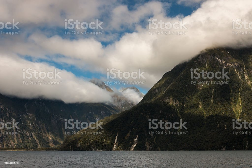 Milford Sound in Fiordland National Park stock photo