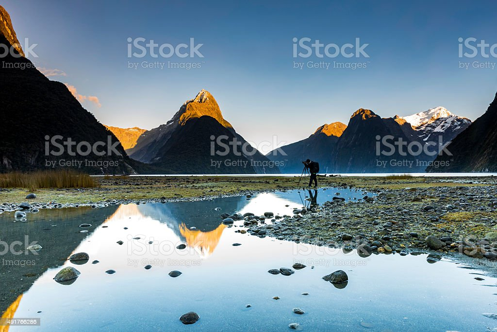 Milford sound in morning stock photo