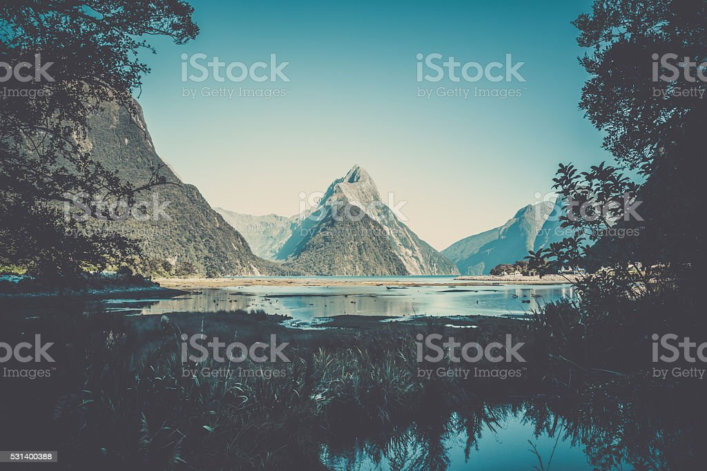 Milford Sound Landscape, New Zealand stock photo
