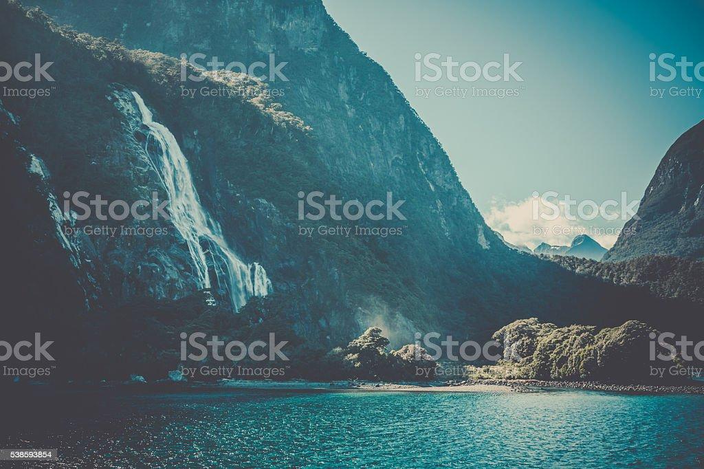 Milford Sound Landscape, South Island, New Zealand stock photo