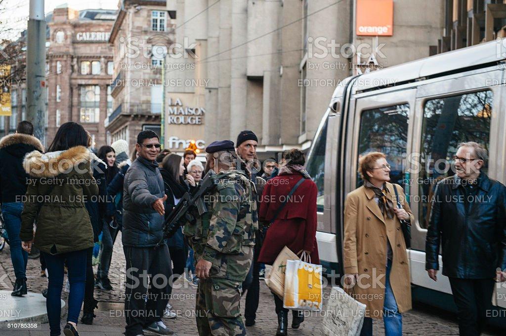 Miliatry patrol in Strasbourg, France stock photo