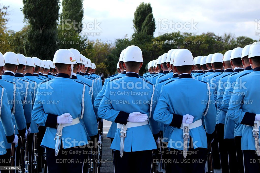 Militar Students in Blue Uniform stock photo
