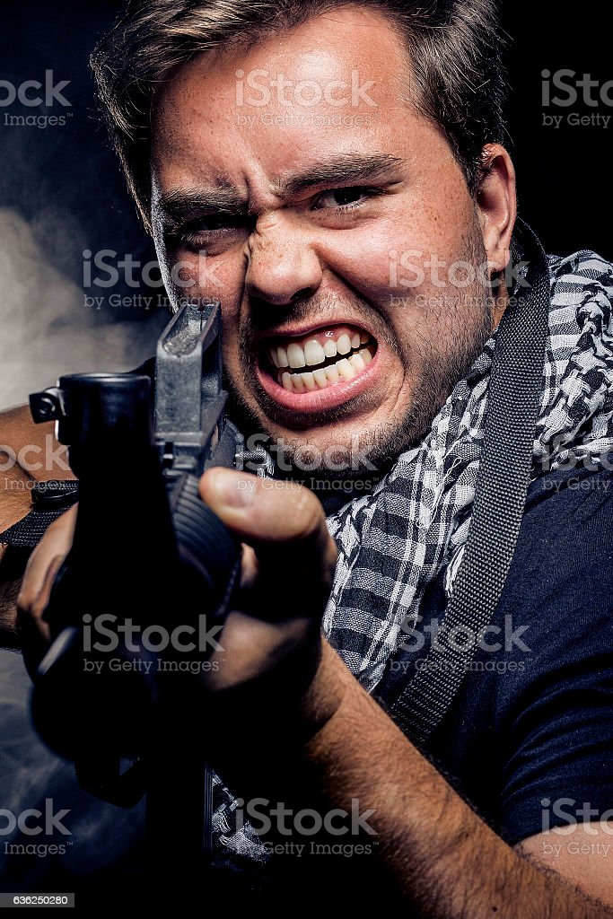 Militarization of Police, Soldier or Private Military Company stock photo