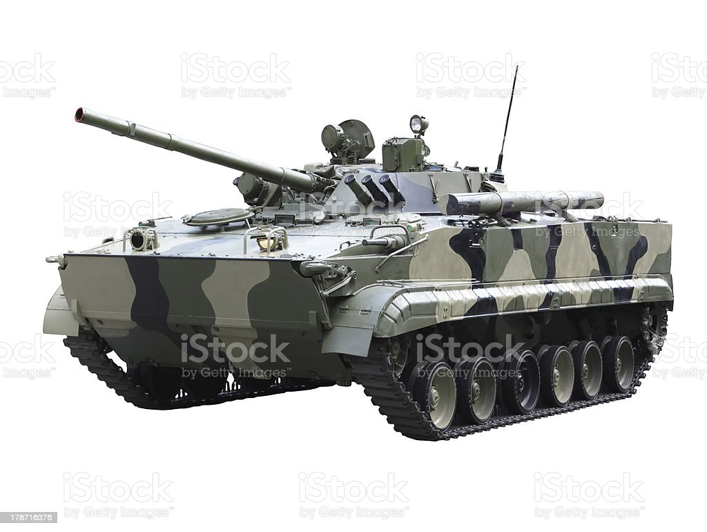 Militaru technics - tank. Isolated stock photo