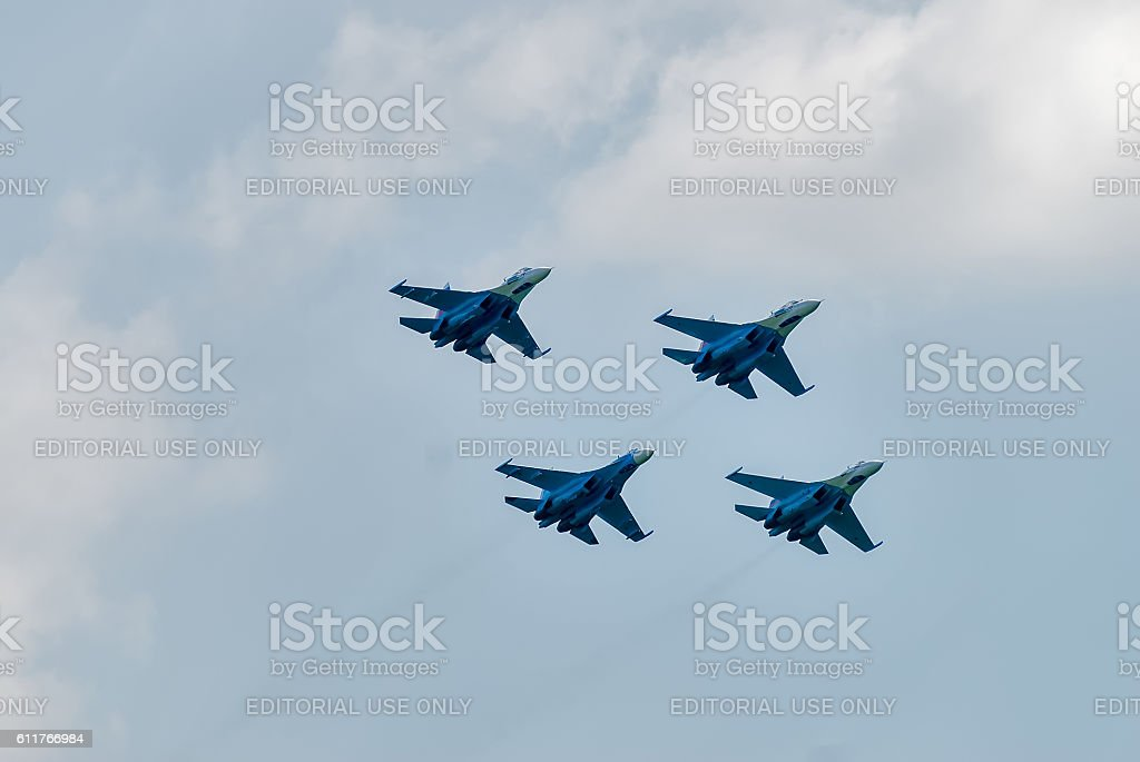 Military air fighter SU-27 stock photo