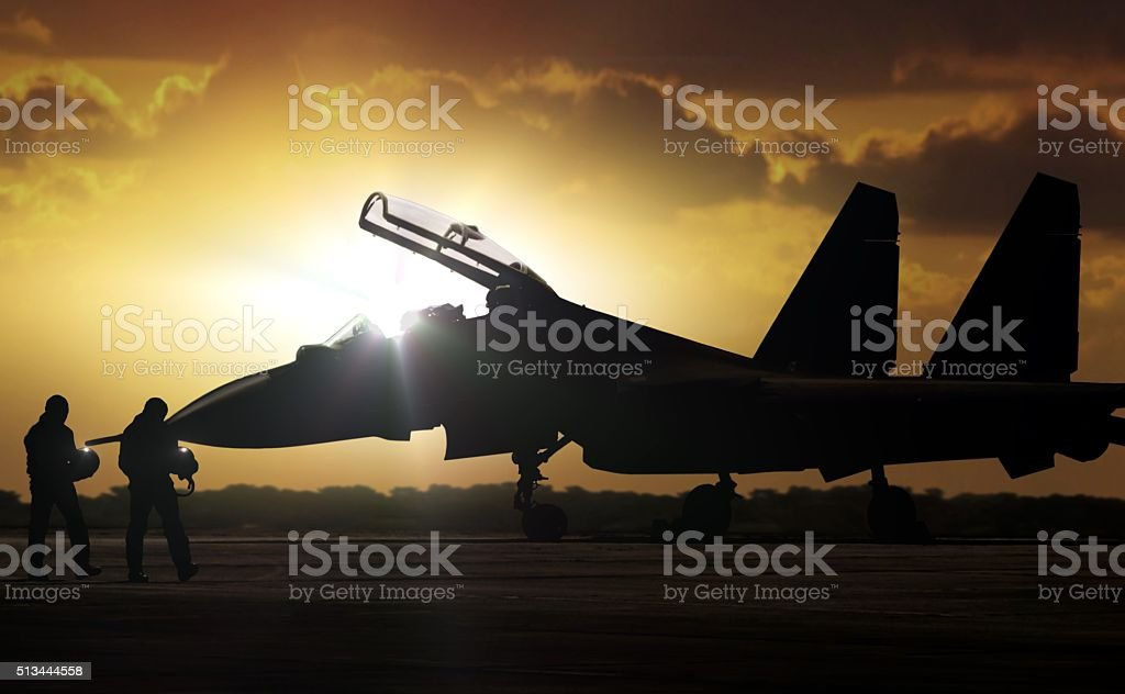 Military Aircraft at airfield on mission standby stock photo