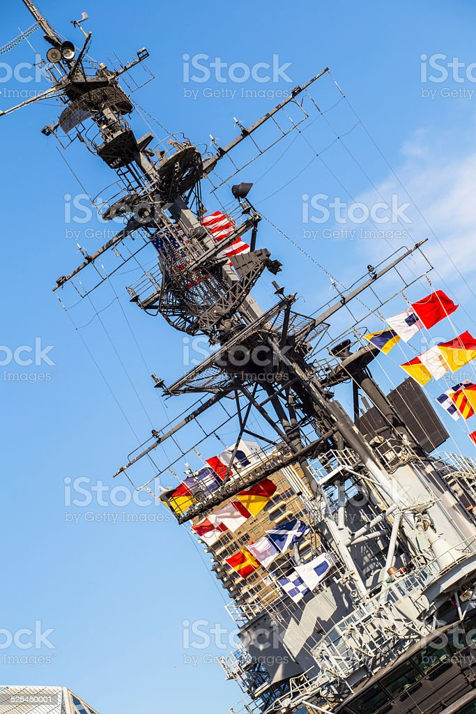 US military aircraft carrier tower and control bridge stock photo