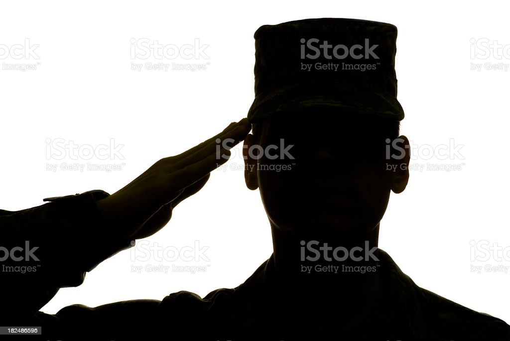 Military Airman Saluting in Silhouette stock photo