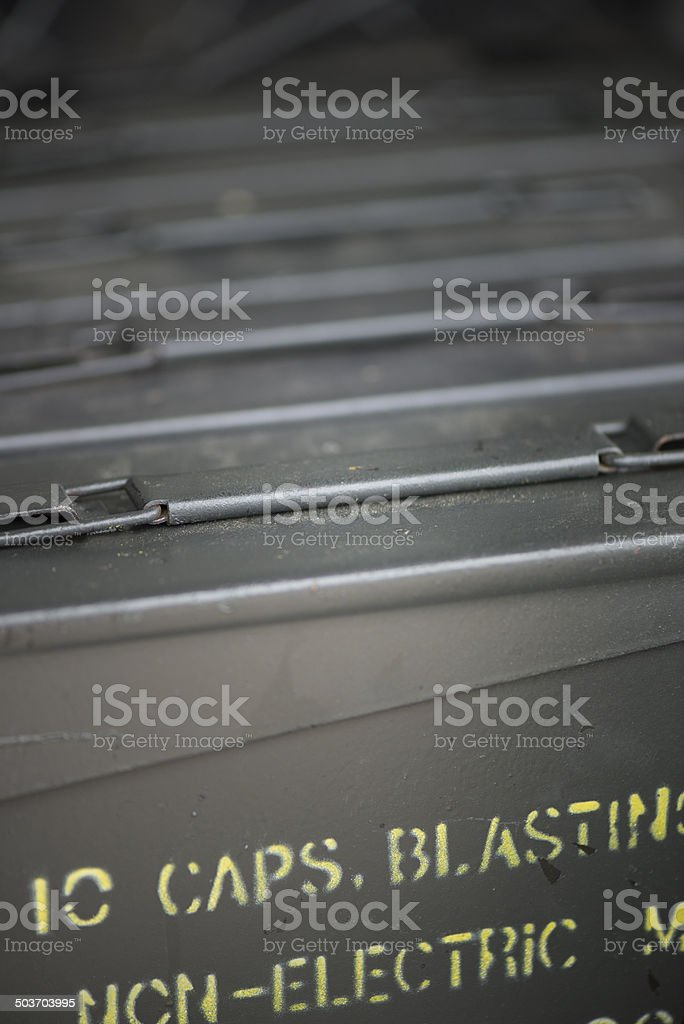 Military ammunition crate. stock photo
