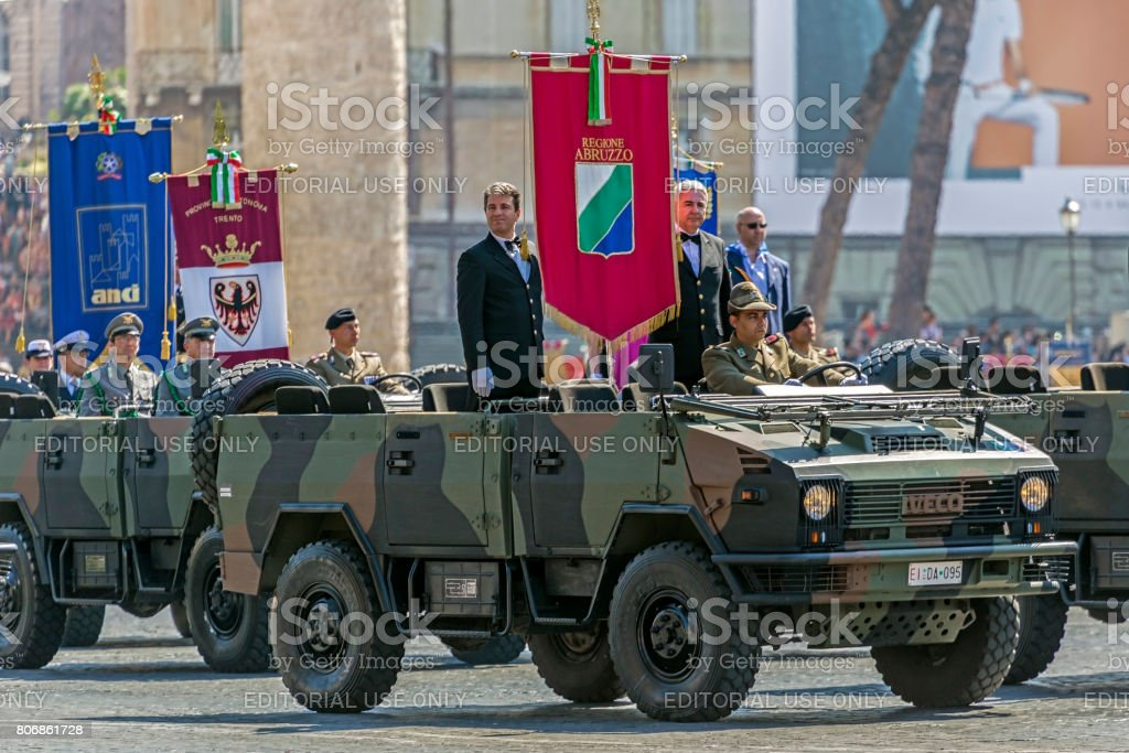 Military and administrative people participating at military parade of Italian National Day stock photo