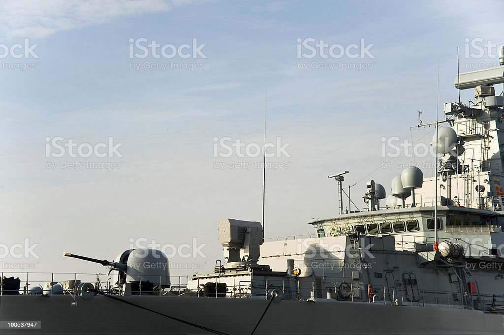 Military anti-submarine ship stock photo