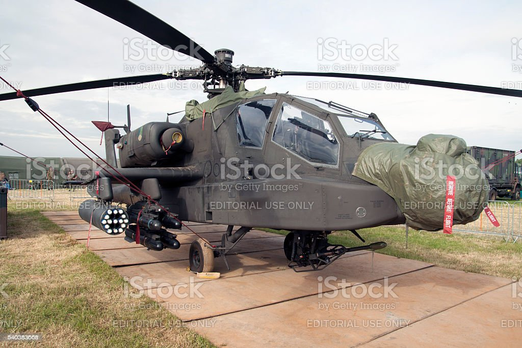 Military Apache AH-64D with camouflage colors stock photo