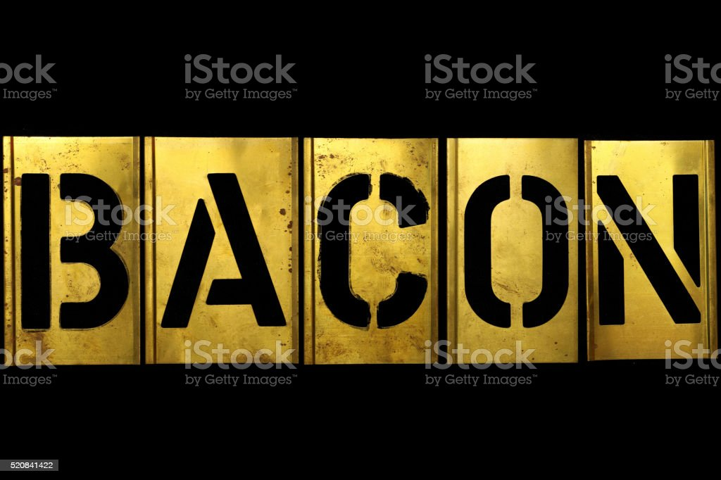 Military Army Sign Stencil Bacon stock photo