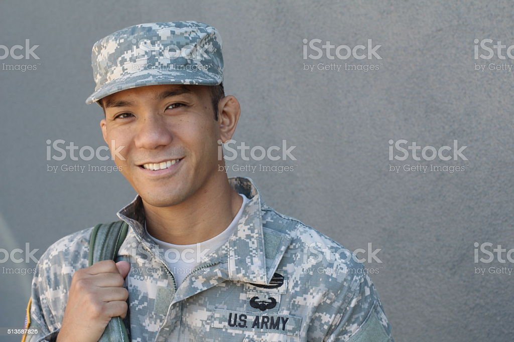 Military Asian army man with copy space stock photo