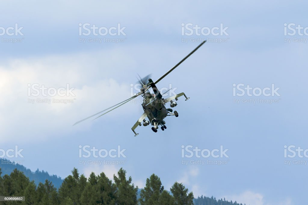 military attack helicopter ready for battle stock photo