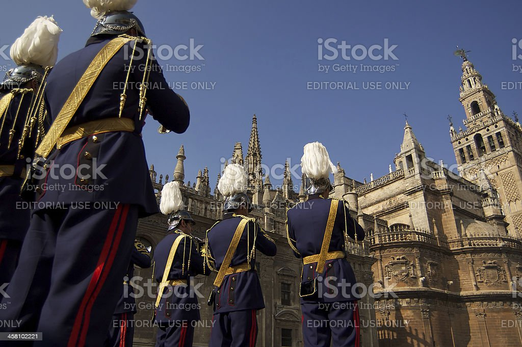 'Military band and Cathedral, Seville' stock photo