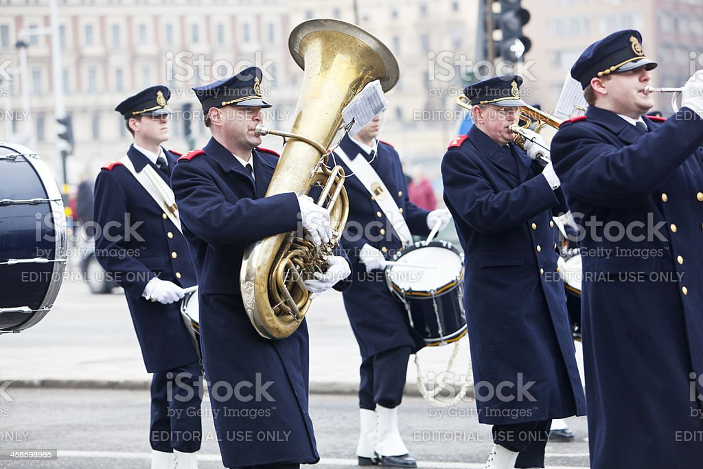 Military band from Swedish Army with wind instruments and drums stock photo