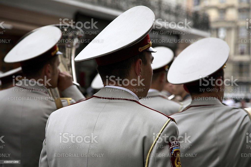 Military band in Lviv, Ukraine stock photo