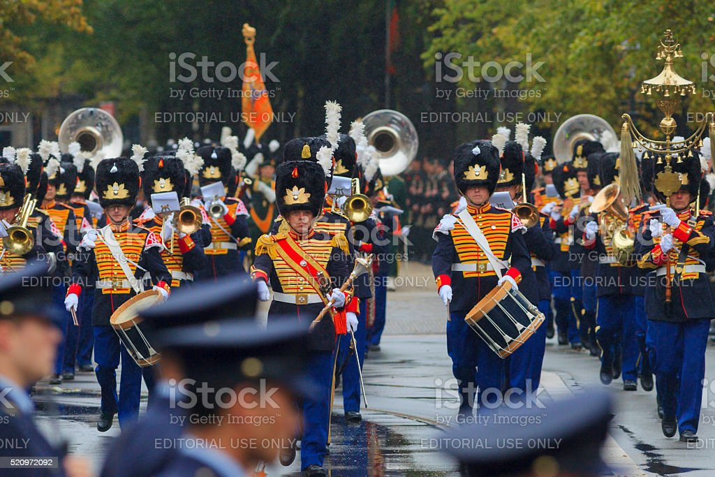 military band on Lange Voorhout during Prinsjesdag in The Hague stock photo
